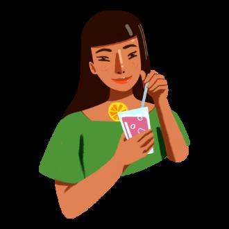Girl drinking icon  Happy Turtle Straw